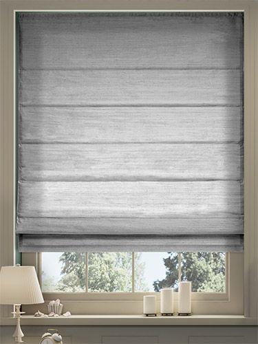 Dupioni Faux Silk Platinum Roman Blind Living Room