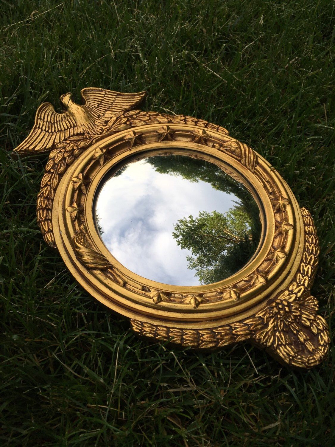 Gold convex eagle mirror for sale https://www.etsy.com/listing/398006543/vintage-gold-painted-eagle-convex