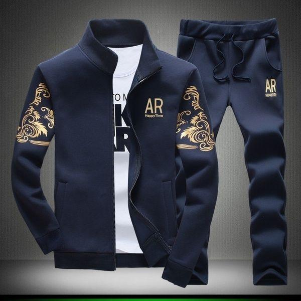 New Fashion Hoodies Casual Mens Tracksuits Sweatshirts JacketsPants Men Tracksuit Suit Set Hoodies  Pants