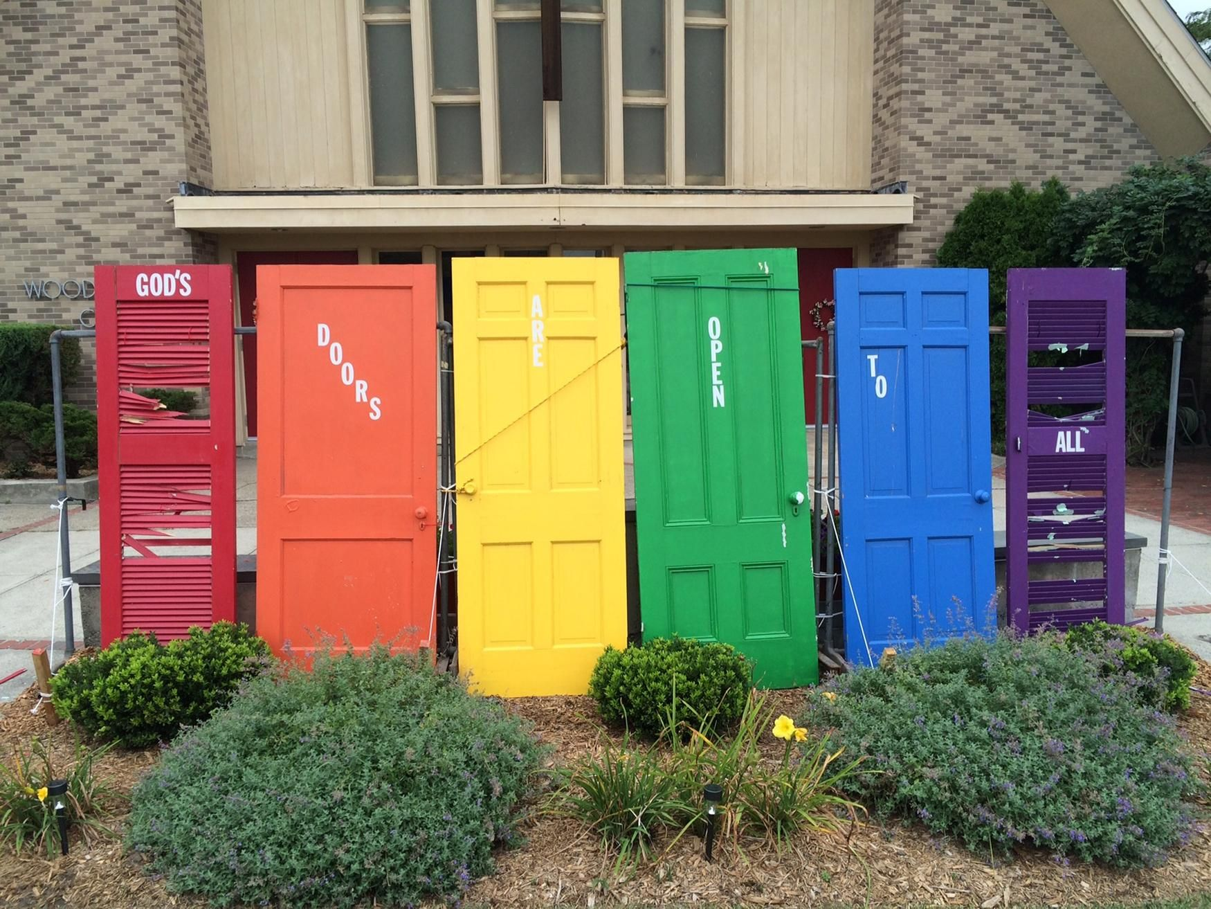 Intended as a symbol of inclusiveness the multicolored doors on intended as a symbol of inclusiveness the multicolored doors on display at woodridge congregational united biocorpaavc
