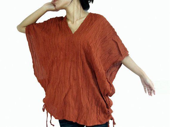Burnt Orange 'Karen'  Loose Fit V Cotton Blouse  by idea2wear, $34.00