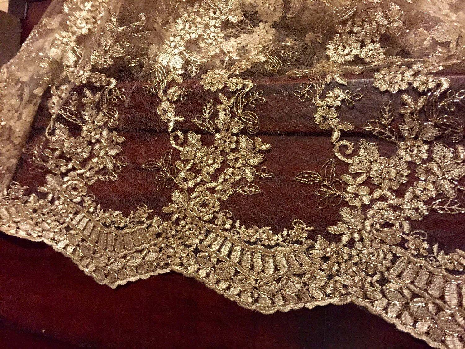 Gold Embroidered Lace Table Runner, Gold Tablecloth, Table Overlay, Home
