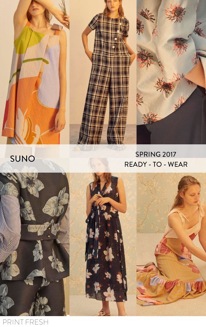 Spring 2017 Ready-to-wear Runway Print & Pattern Trends- Suno Images: vogue.com graphic florals, spring plaids, and 70s inspired colors