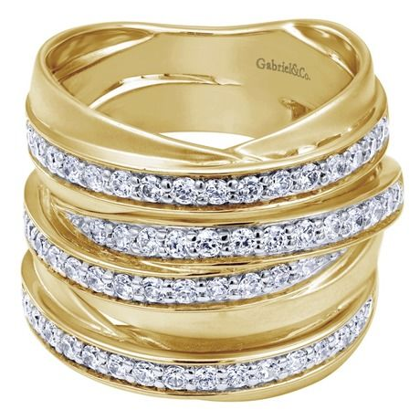 14k Yellow Gold Lusso Diamond Fashion Ladies' Stacked Ring
