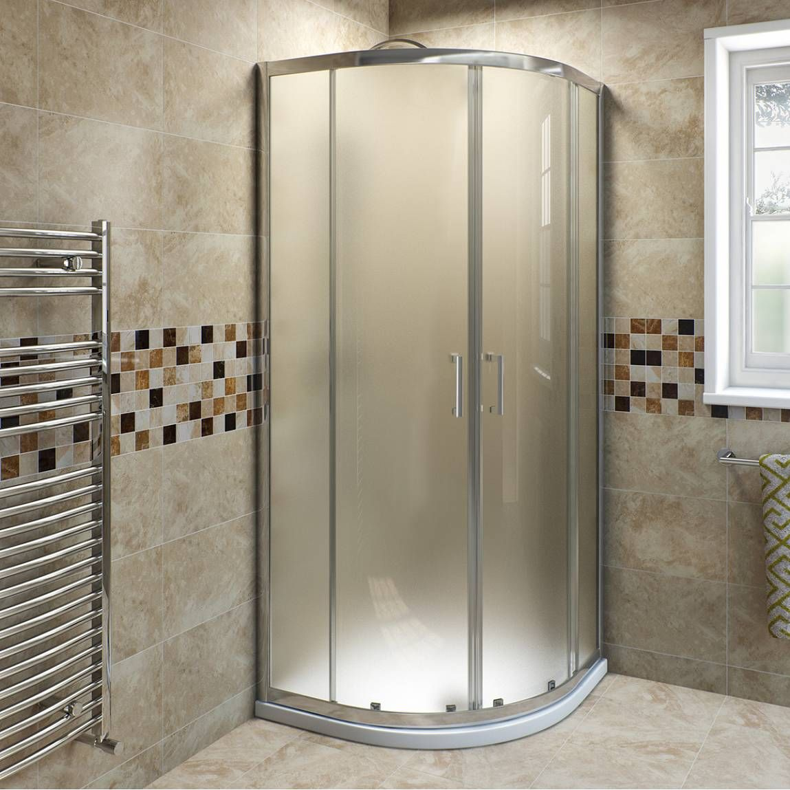 Engaging Frosted Glass Quadrant Shower Enclosure Round Shower