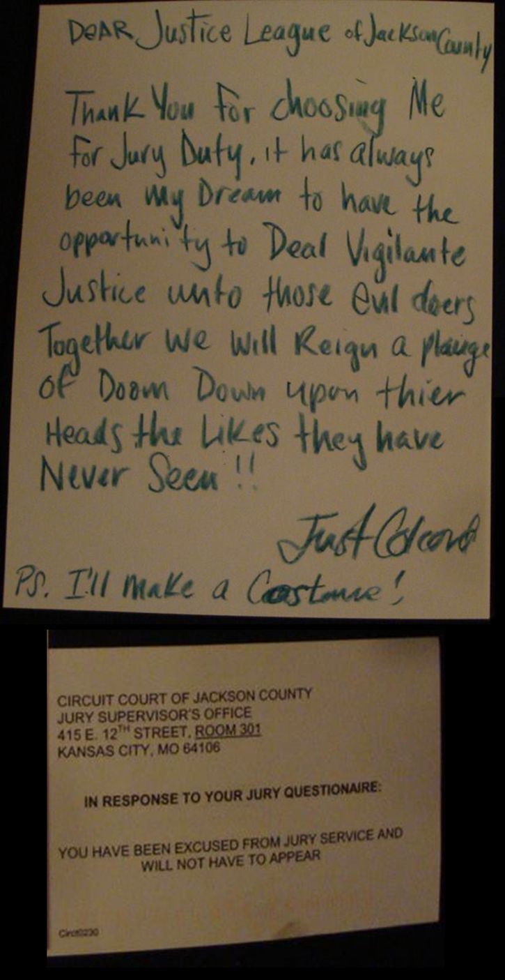 So My Friend Got Out Of Jury Duty With An Enthusiastic Note Funny Note Haha Funny Hilarious