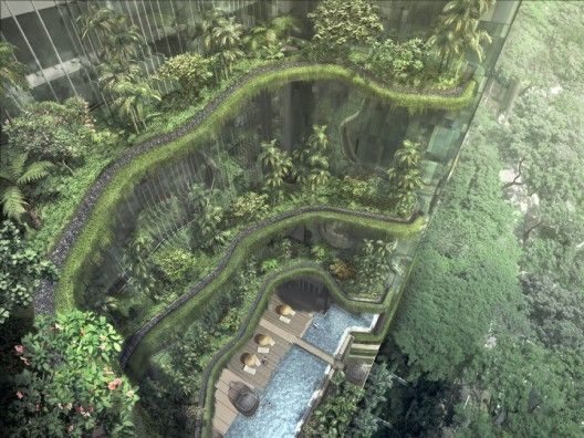 """PARKROYAL in Singapore. """"These landscapes are designed to be self-sustaining and rely minimally on precious resources. Rainwater collected from upper floors irrigate planters on the lower floors by gravity supplemented by non-potable recycled Newater, which will also be used for all water features."""""""