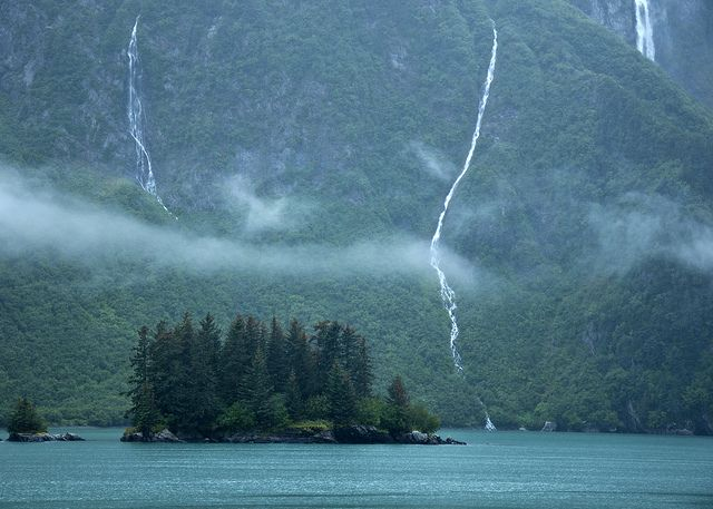 Some long Cascades in the Chugach Mountains above Prince William Sound.