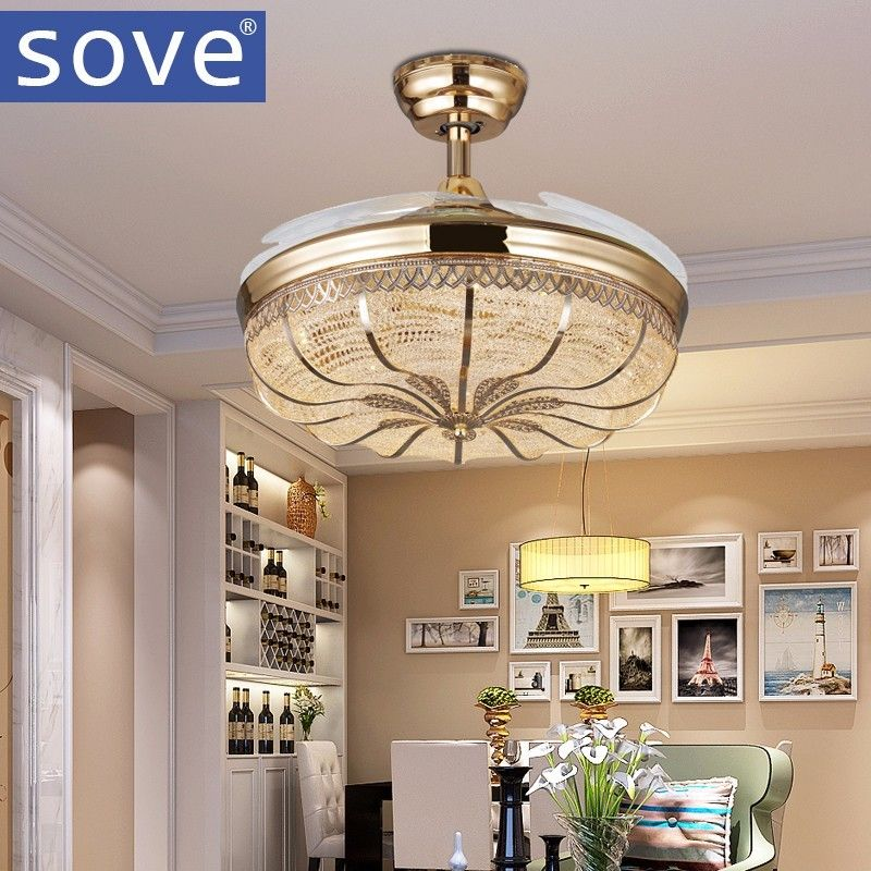 42 Inch Gold Modern Led Retractable Ceiling Fans With Lights Living Room Home Decoration Folding Ceiling Fa Ceiling Fan Chandelier Ceiling Fan Gold Ceiling Fan