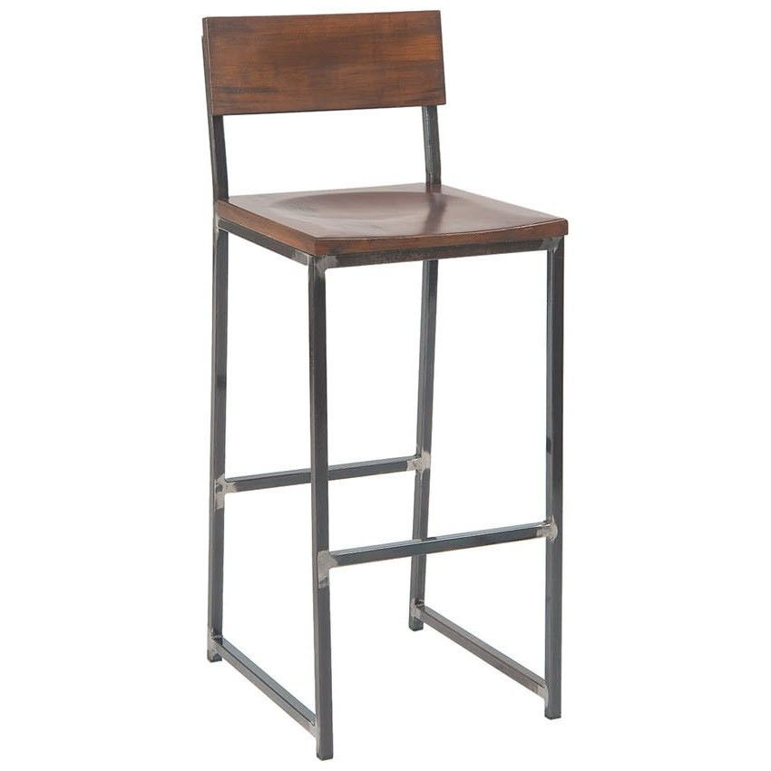 Industrial Series Metal Bar Stool With Wood Back Seat Restaurant Bar Stools Bar Stools Metal Bar Stools