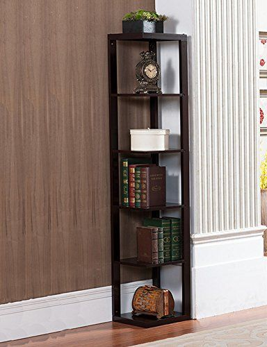 Khome Cherry Finish Wall Corner 5 Tier Wooden Shelves Bookshelf Case Display Rack Wooden Shelves Shelves Bookshelves