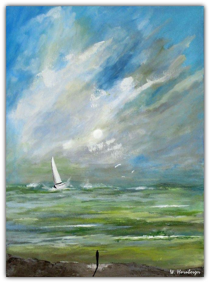 Acryl/Leinwand 30 cm x 40 cm x 1,5 cm Preis 370,- Euro  Der Traum vom Segeln