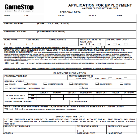 GameStop Application Printable Version 2013