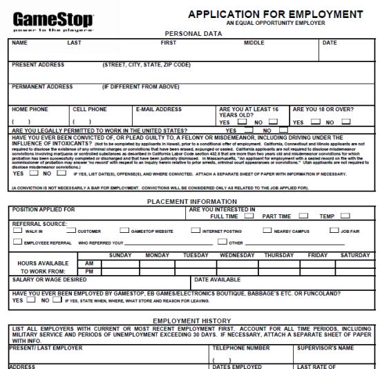 GameStop Application Printable Version 2013 GameStop Job