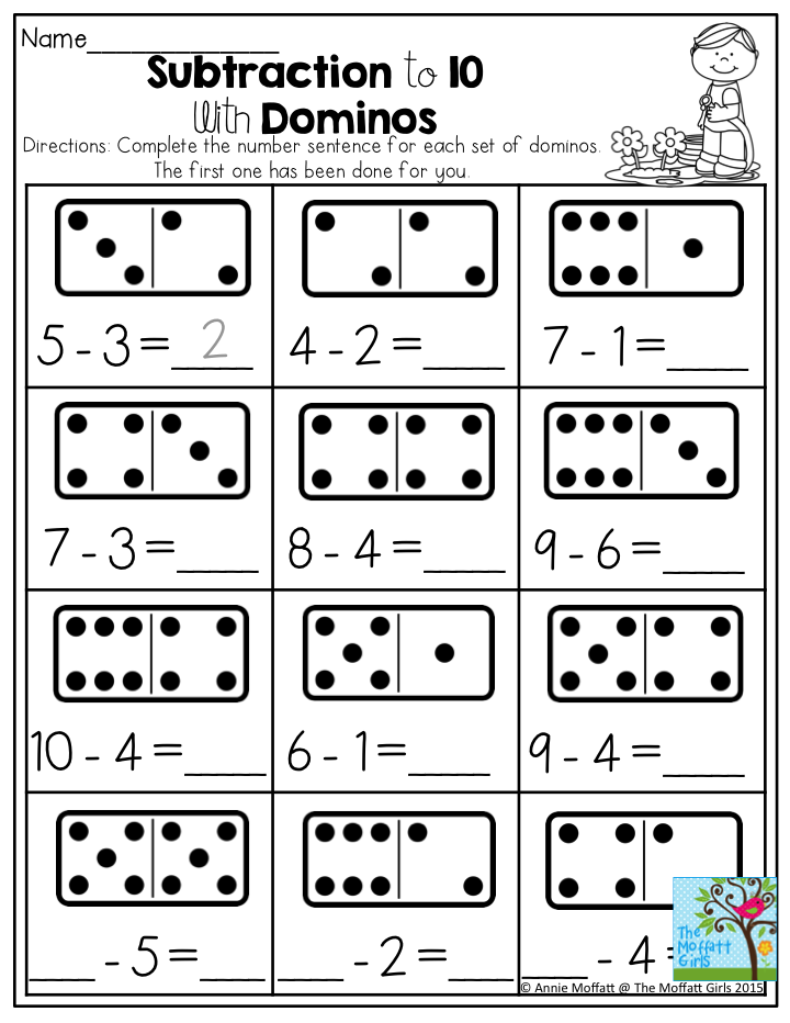 Printable Worksheets 1 to 1 correspondence worksheets : Subtraction to 10 with Dominos- Dominos provide a tangible way to ...