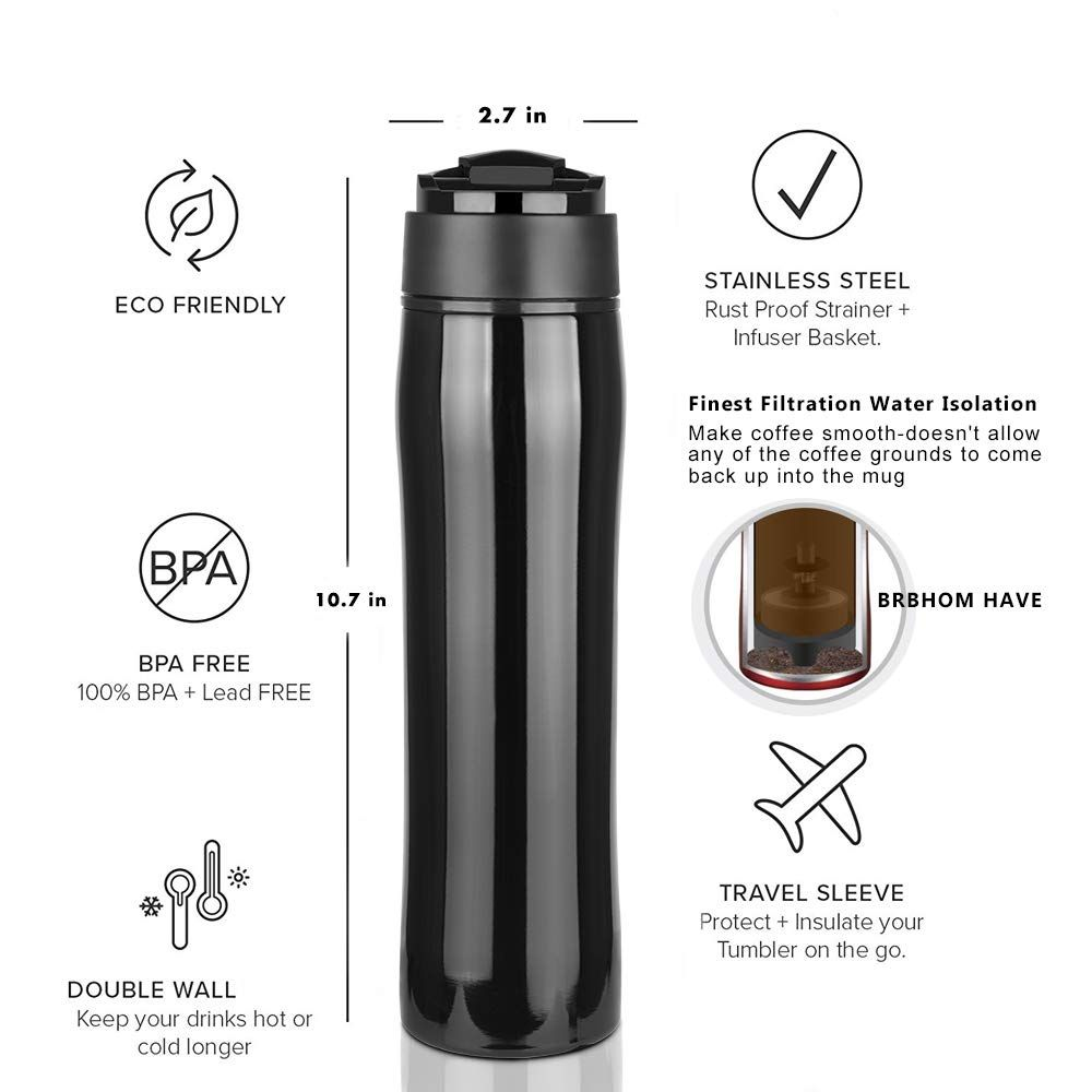 French Press Coffee Maker Travel Mug Cafetiere Drink Water Cup BRBHOM