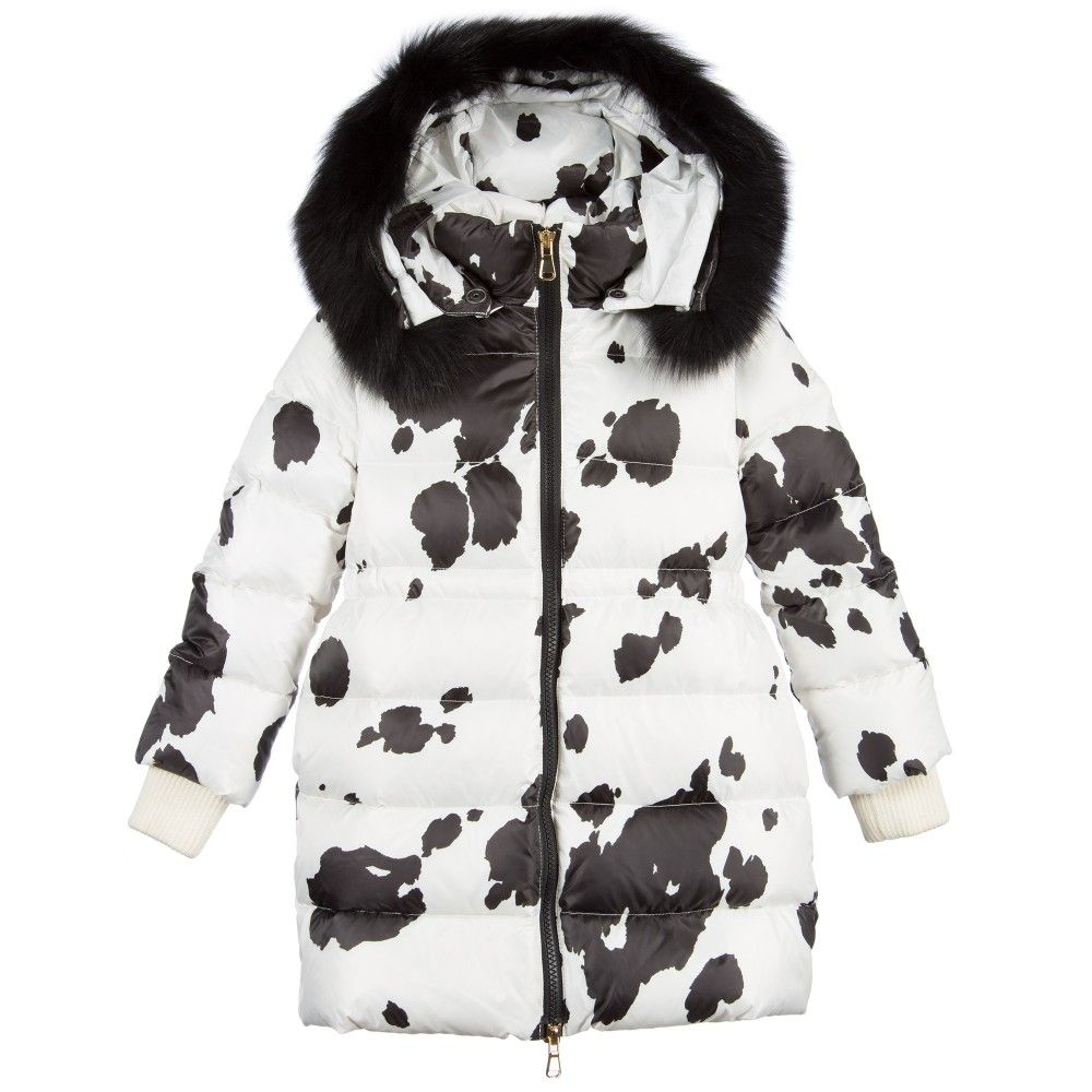 Cow Print Down Padded Jacket with Fur Trim, Moschino, Girl