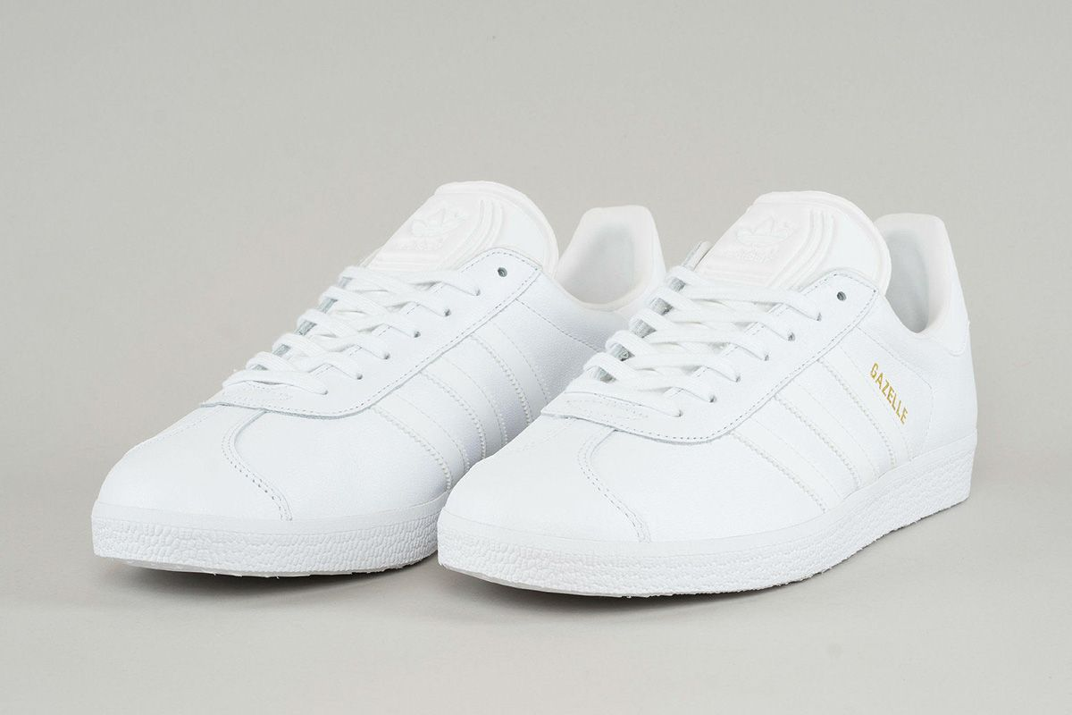 adidas Originals Gazelle Leather Triple White 2 adidas Originals Hits the  Gazelle with Triple White eukicks 4c1b1a087