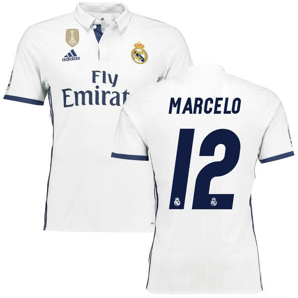 12d9c8170 Marcelo Real Madrid adidas 2016 17 Home World Cup Champions Patch Authentic  Jersey - White
