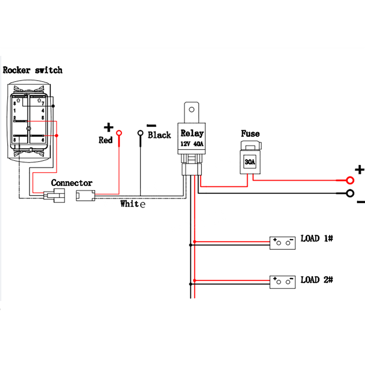 small resolution of 12v 40a led fog light wiring harness laser rocker switch relay picturesque led diagram