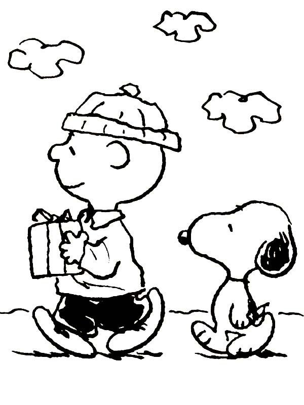 Charlie Brown Christmas Present Coloring Page See the ...