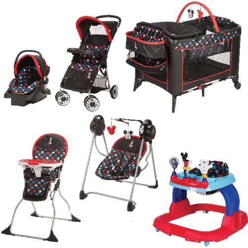 6 Pc Mickey Mouse Newborn Set Stroller Play Yard Baby Boy Swing