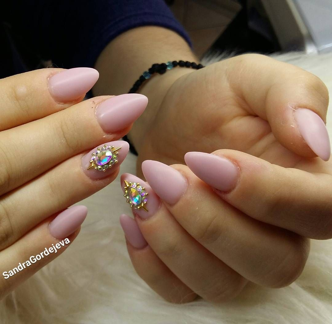 matt rose nude gel nails with rhinestones and gold decorations ...