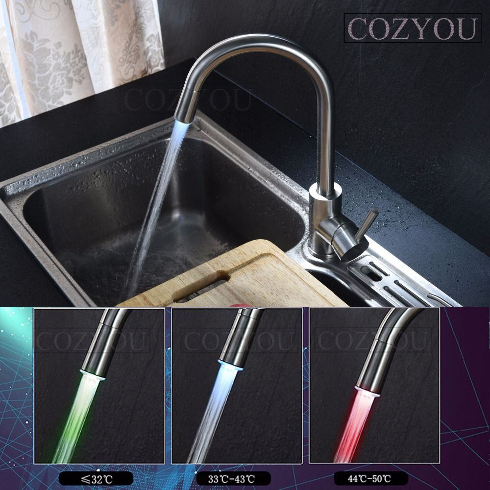 3 colors LED SUS304 stainless steel kitchen mixing faucet, surface ...