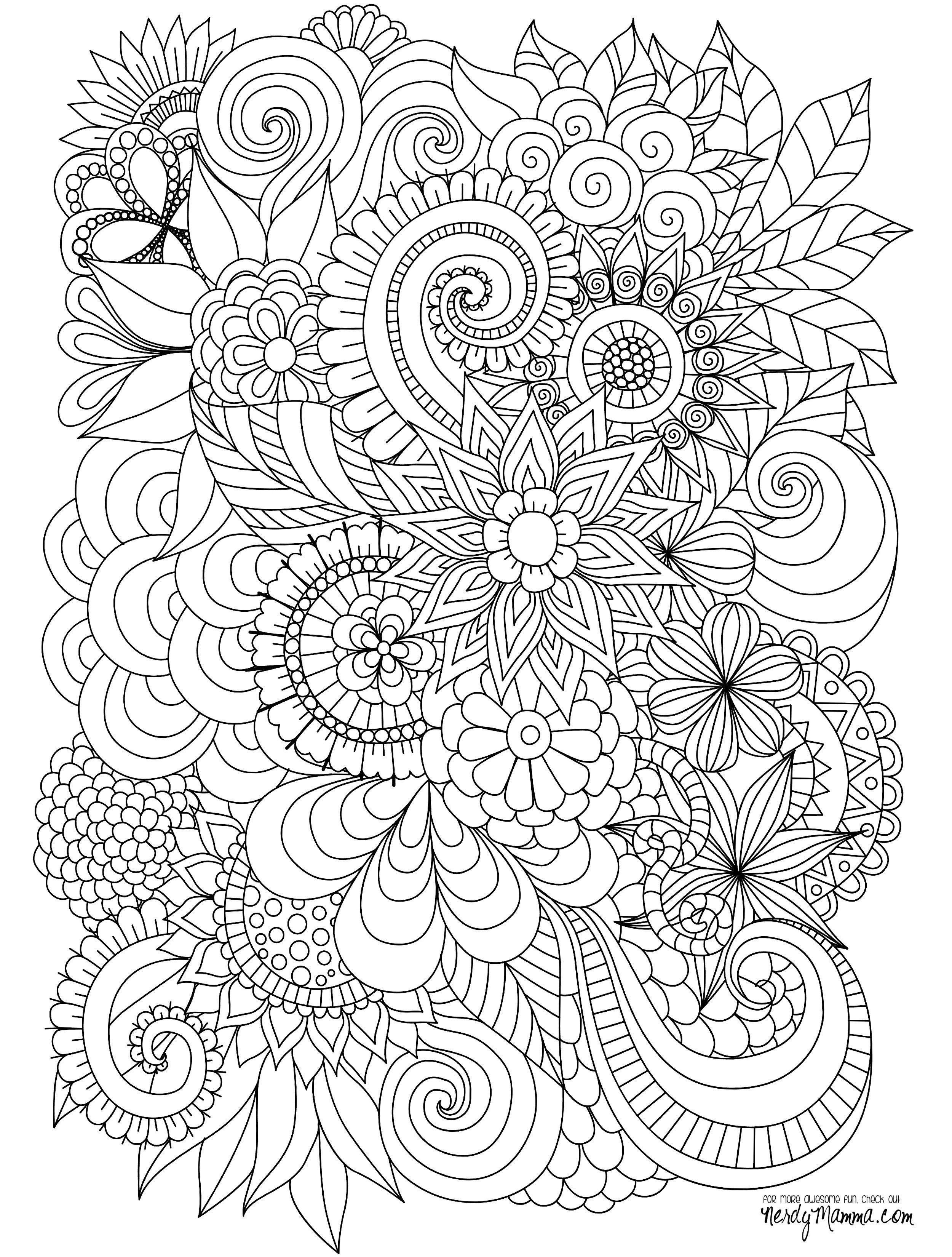 flowers-zentangle-adult-coloring-page.jpg (2500×3300) | Coloring ...