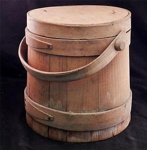 Antique C1845 Wood Firkin Shaker Sugar Bucket W Handle Lid Hilder Son Antiques Bucket Wood