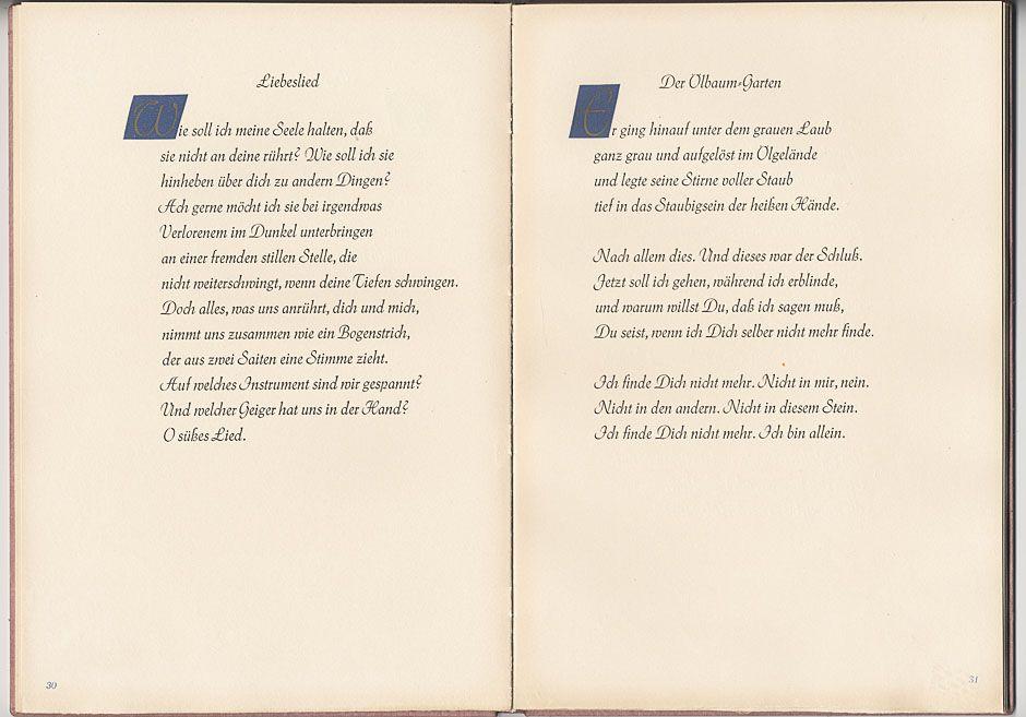 Rilke Liebeslied Liebeslieder Gedichte Lied