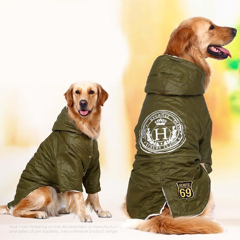 Army Green Winter Fleece Hoodie For Large Dog Golden Retriever