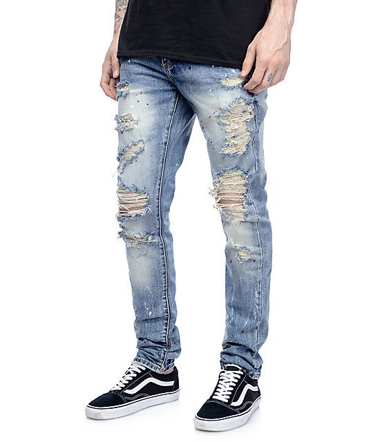 459a1cba1f8ce1 Ripped jeans with a little more flare, the Crysp Denim Bobby Ink Splatter Ripped  Jeans are featured with red and white ink splatter throughout the front and  ...