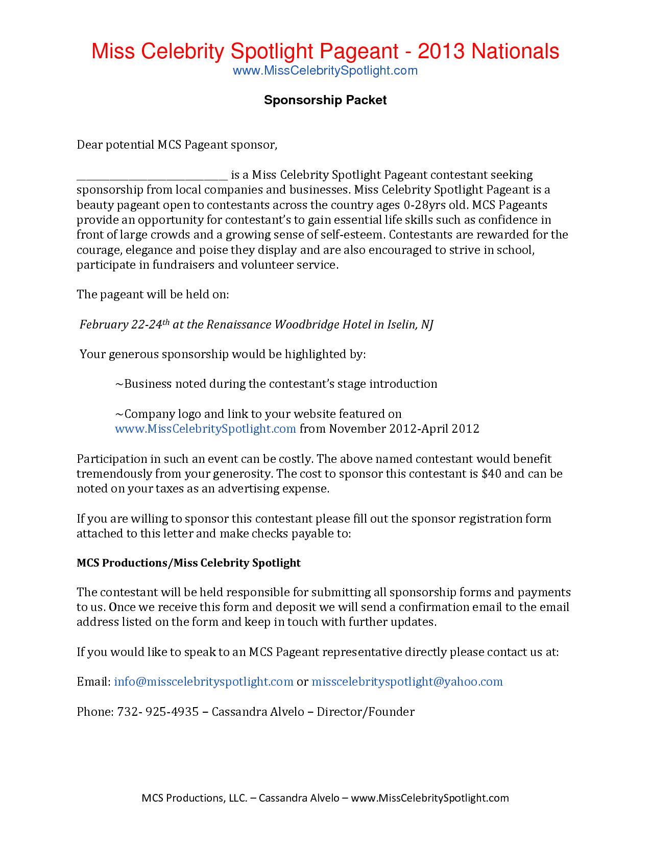 Pageant sponsorship letter Sponsorship letter, Proposal