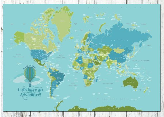 World Map Poster Country Names X Travel Artwork Travel - 24x36 world map