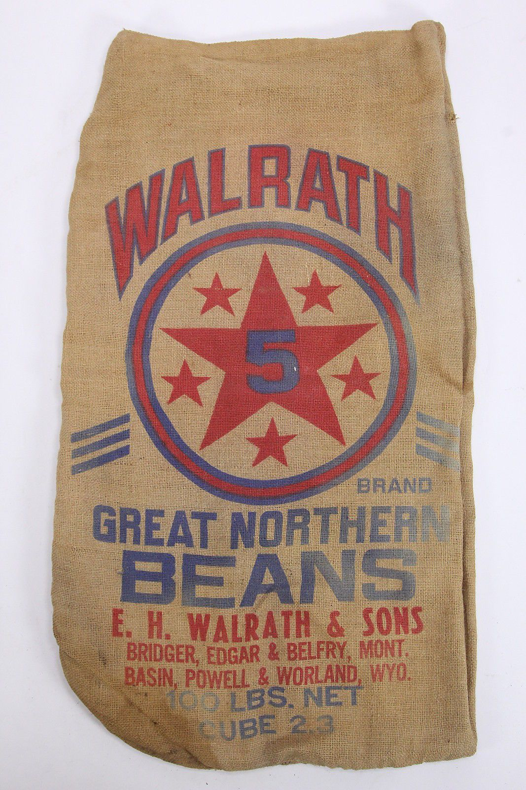 Walrath 5 Star Great Northern Beans Burlap Gunny Sack Advertiser