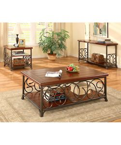 Scrolled Metal And Wood End Table Ping Great Deals On Coffee Sofa Tables