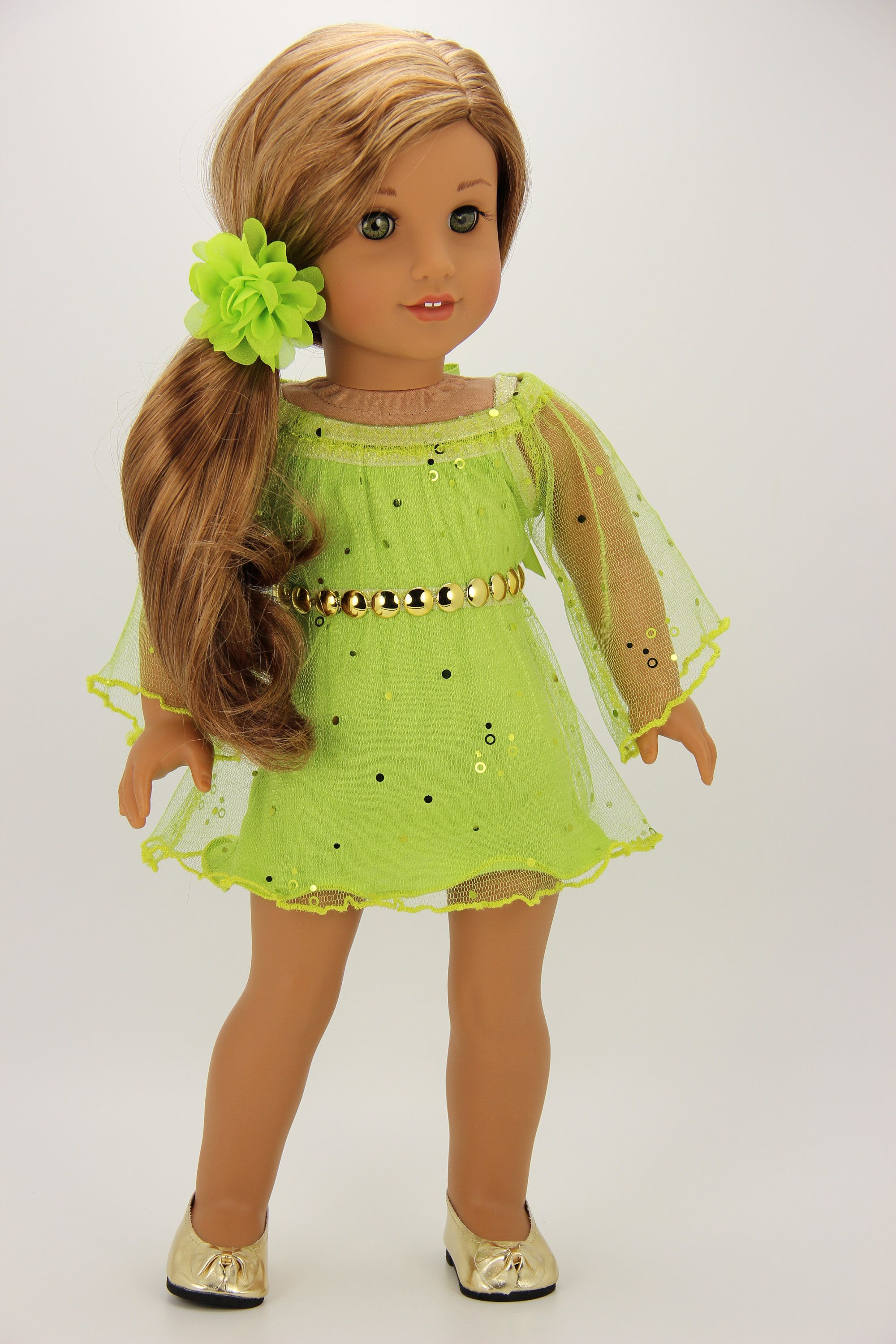 Handmade 18 inch doll clothes - Green 4 piece holiday dress outfit (1207) #18inchdollsandclothes