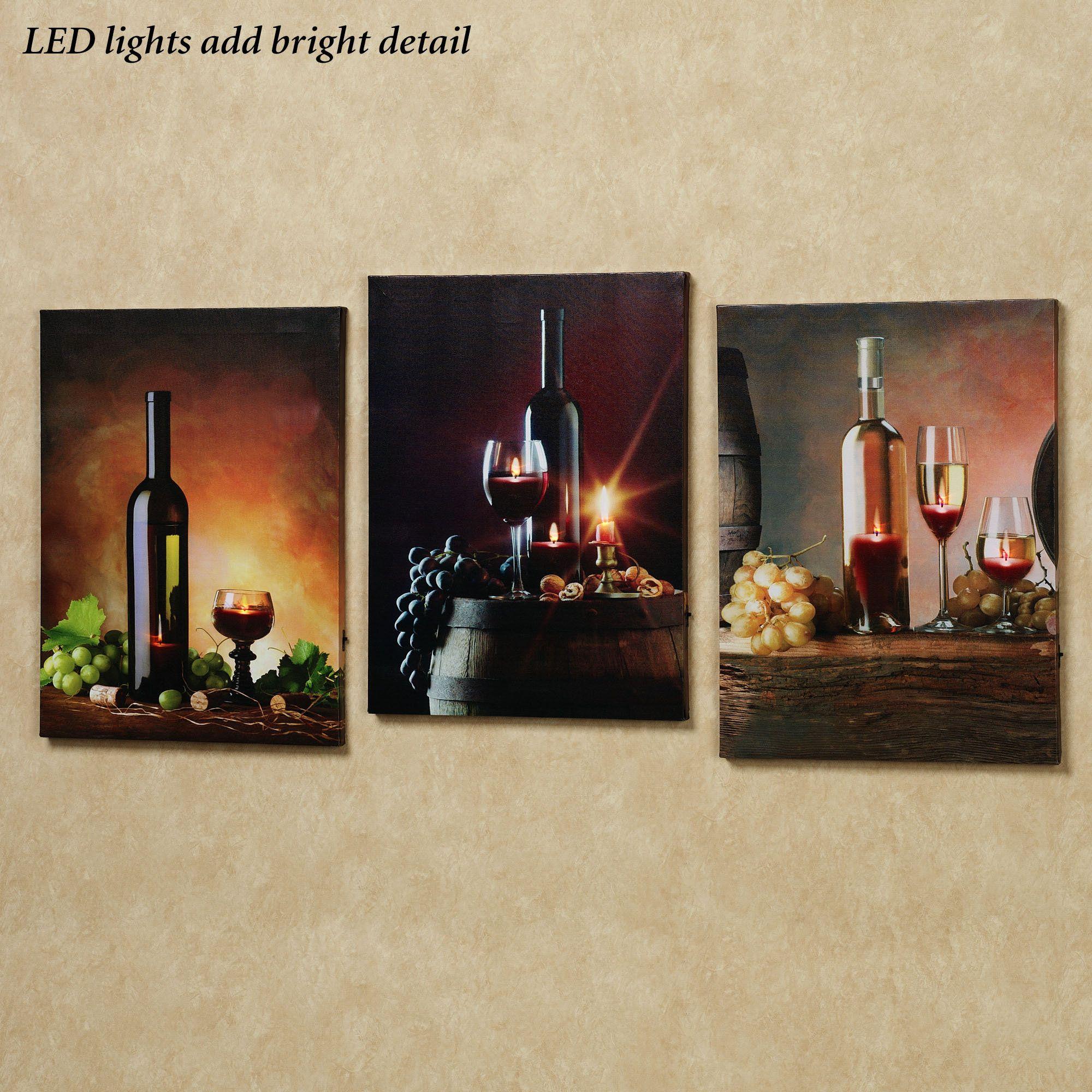 Lirac Wine LED Lighted Canvas Wall Art Set | Making the House a Home ...