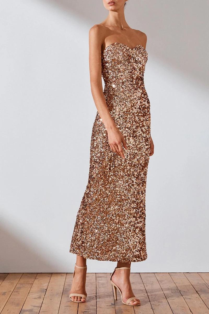 Faye Strapless Midi Dress Rose Gold Dresses Shona Joy Shona Joy International Strapless Gold Dresses Formal Dresses Australia Lace Dress With Sleeves [ 1200 x 800 Pixel ]