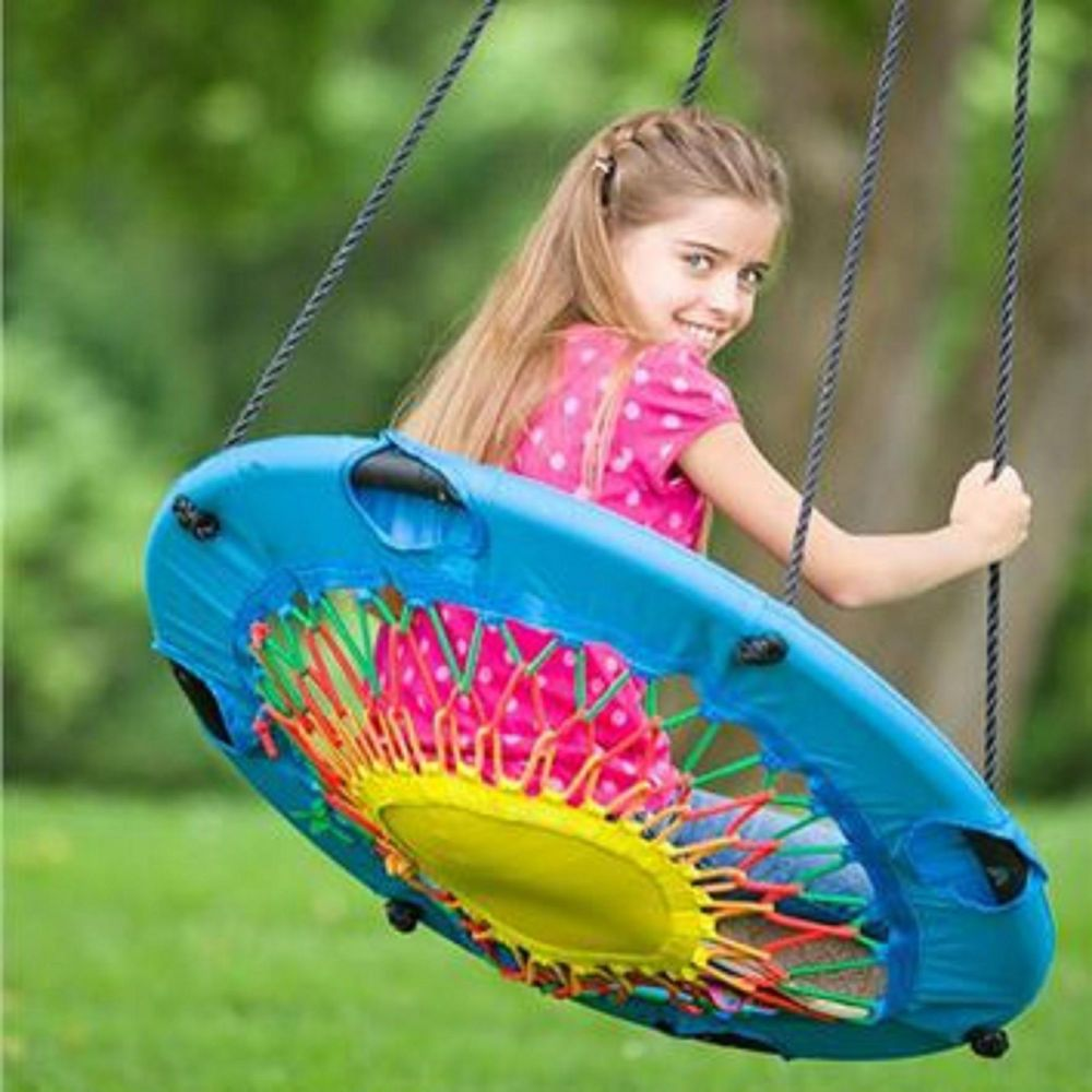 Details about modern tree swing bungee cord chair round web swingset playground backyard rope