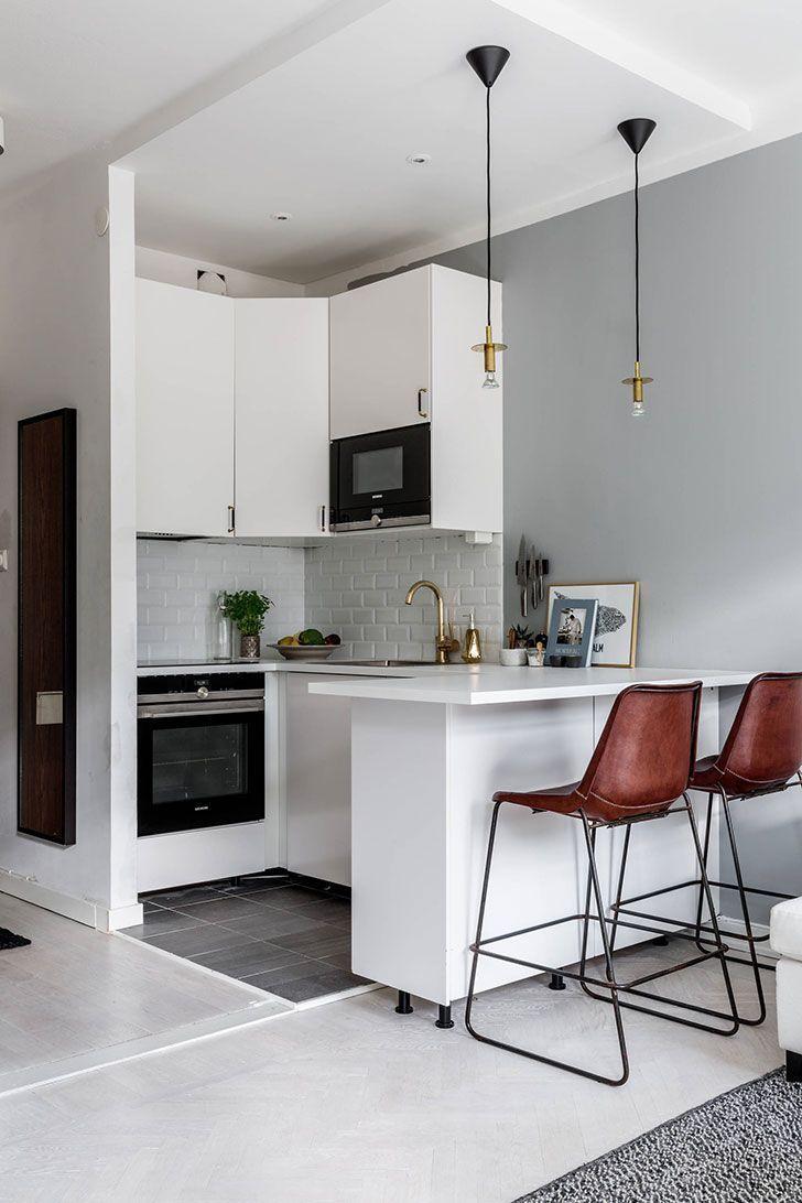 Compact Studio Condominium In Stockholm 26 Sqm Photographs In 2020 Kleine Wohnung Kuche Innenarchitektur Kuche Wohnung Kuche