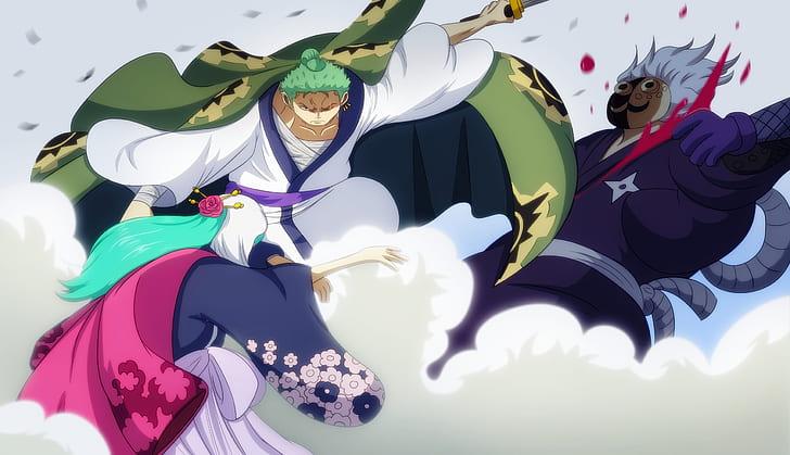 One Piece Kozuki Hiyori Roronoa Zoro Hd Wallpaper In 2020 Roronoa Zoro Anime Backgrounds Wallpapers One Piece Anime
