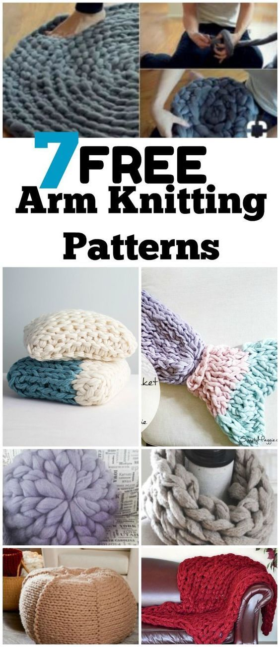 Arm Knitting Tutorial for 7 Free Chunky Knit Yarn Projects | Creatividad