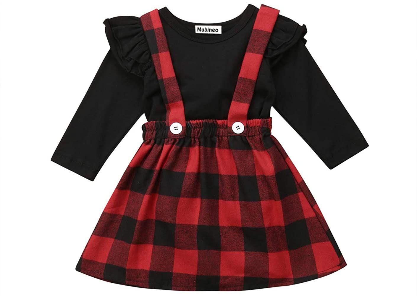 Mubineo Little Toddler Girl Corduroy Ruffle Suspender Skirt Basic Plain Cotton Overall Skirts