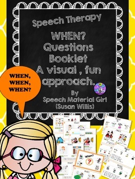 Speech Therapy When Questions Booklet EASY & graphic organ