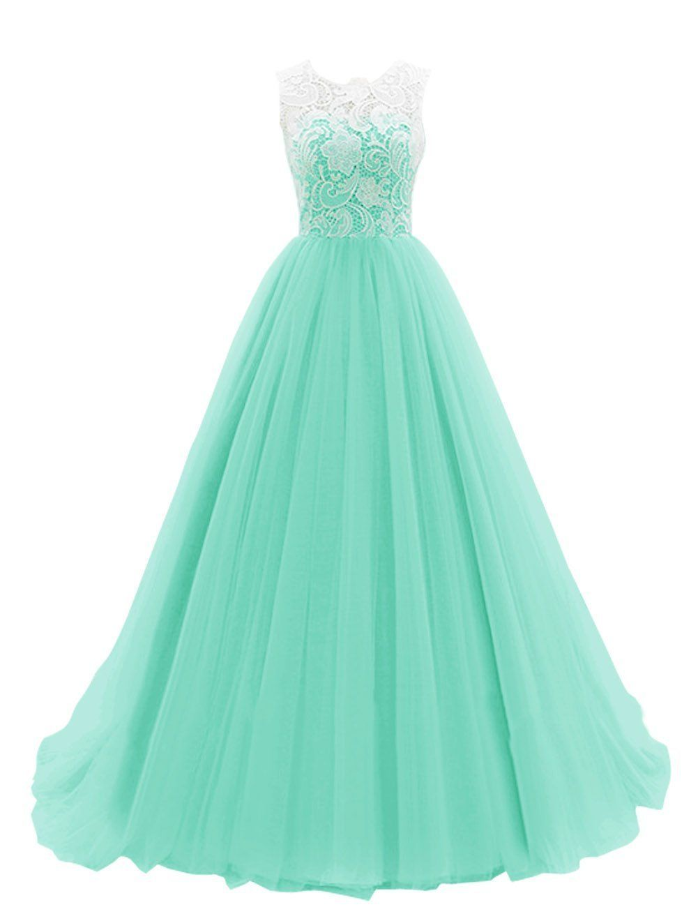Coco Bridal Women\'s Long Tulle Prom Dress Dance Gown with Lace ...
