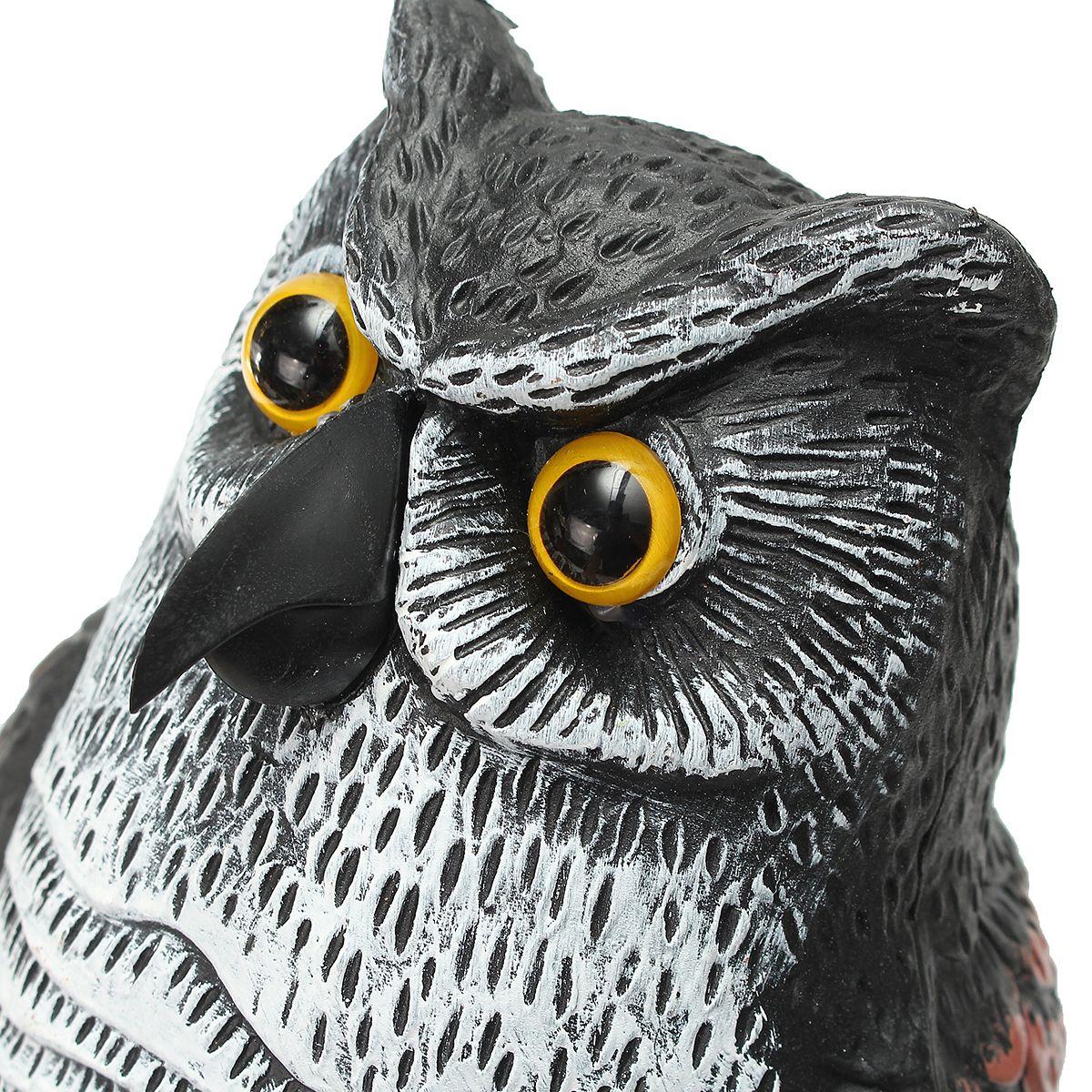 Rotating Head Fake Owl Scarecrow Hunting Decoy Bird Scare