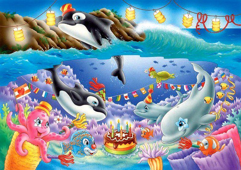 плоскоклеточного подводный мир открытку в дет сад рисунок красоты природы