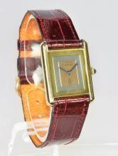 Original Les Must de Cartier Gentleman's Vermeil Tri-Gold Tank Wristwatch